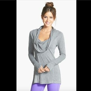 NWT $58 Zella 'All Shirred Up Too' Pullover Grey